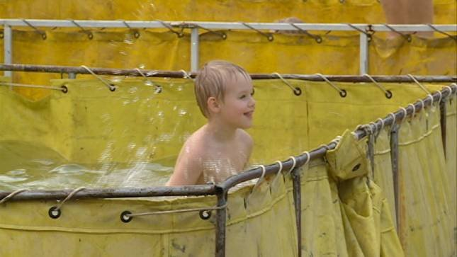 Dozens of children enjoyed a makeshift water park created by Decatur, Neb. fire and rescue.