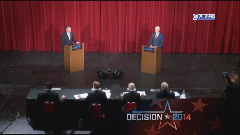Gov. Terry Branstad and Senator Jack Hatch debate in Sioux City, Iowa.