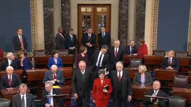 Senator Joni Ernst with former Senator Tom Harkin and Senator Chuck Grassley