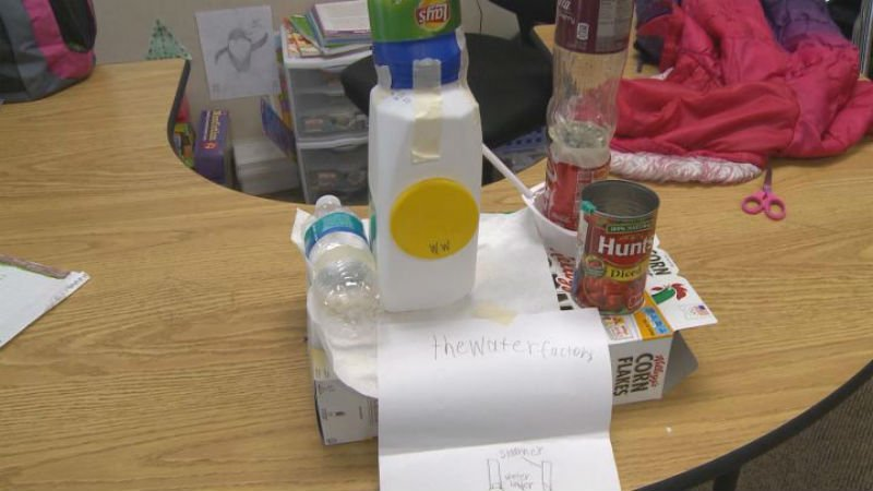 One Spalding Park Elementary students Earth Day project made of reusable materials designed to look like a water factory.