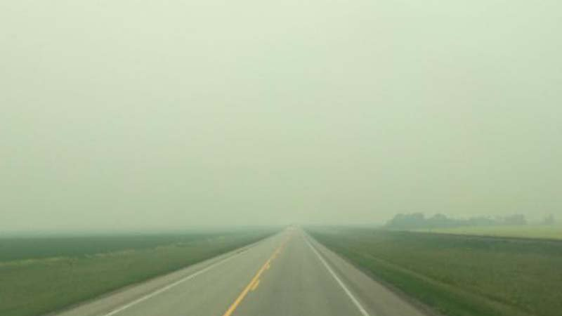John Unger/Driving along Hwy 39 in Saskatchewan about 5-6 hours south of the wildfire