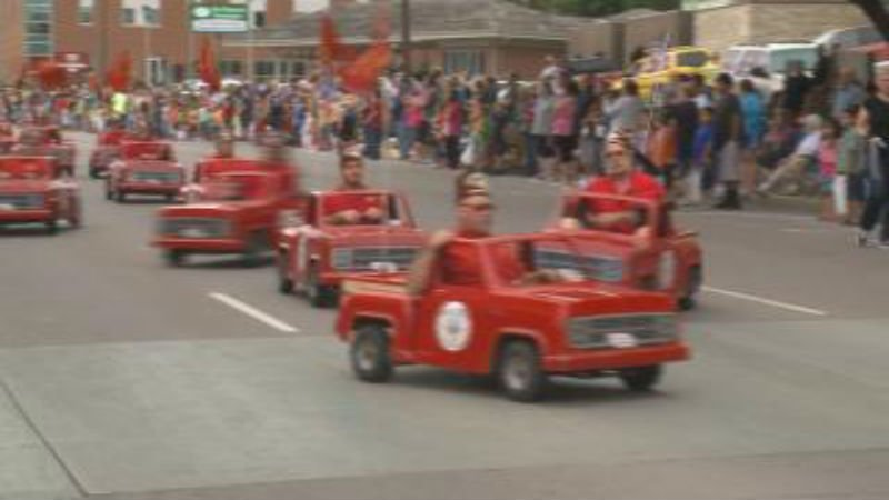 "The Cornhusker Unit of the Abu Bekr Shrine were driving their ""little red pickups"" in the Siouxland River-Cade parade."