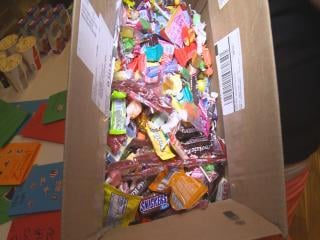 A local dentist's office candy buy back program helps overseas military troops.