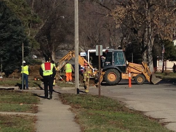 Ruptured gas line at 4400 Polk Street in Sioux City.