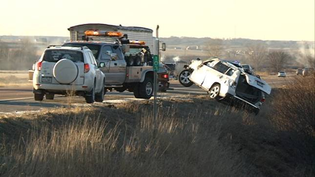 Two car accident flips both vehicles into ditch  KTIV