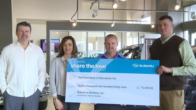 Jensen subaru 39 shares the love 39 with the food bank of for Jensen motors sioux city