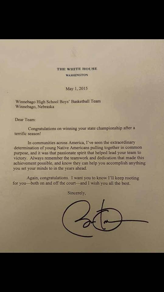 State Champions From Winnebago Receive Letter From President Oba