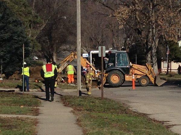 Ruptured gas line at 4400 Polk Street in Sioux City.